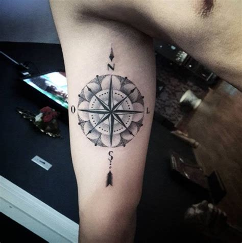 dotwork rose compass tattoo on left arm by daniel rozo 802 best images about clock compass tattoo 2 you on