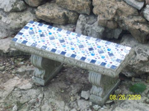 mosaic garden bench mosaic tilework on garden bench my artwork jean marie s