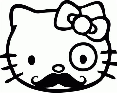 hellow kitty mustache coloring page coloring home