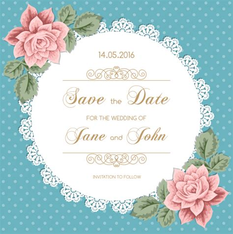 Wedding Card Invitation Vector by Lace Wedding Invitation Card With Flower Vintage Vector 02