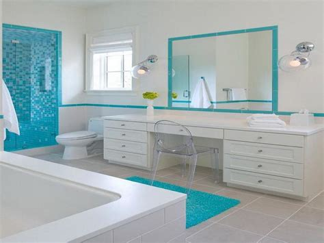 Beach Bathroom Decorating Ideas by Planning Amp Ideas White Blue Beach Bathroom Decorating