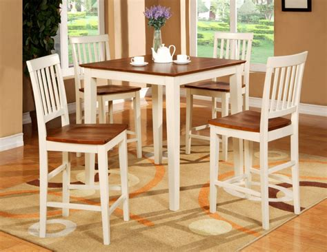 Classy Casual Dining Room Decor With Two Tone Pub Style Kitchen Table With High Chairs