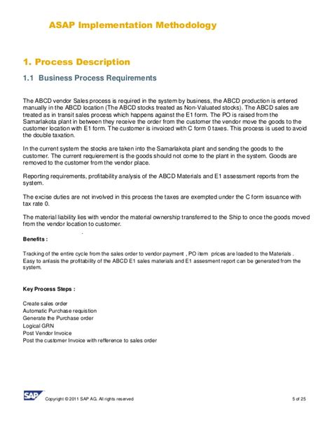 Acceptance Letter For Vendor Sap Sd Business Blue Print E1 Sales Template