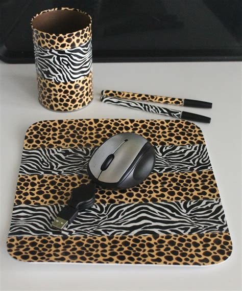 Leopard Desk Accessories Zebra Leopard Print Desk Accessories By Thecraftygiftshop