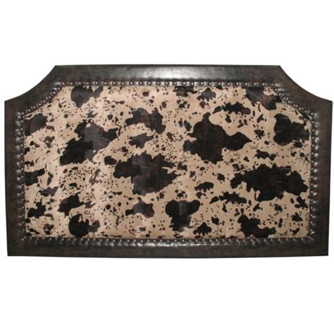 Cowhide Headboard by Caldwell Faux Cowhide Antiqued Faux Leather Padded