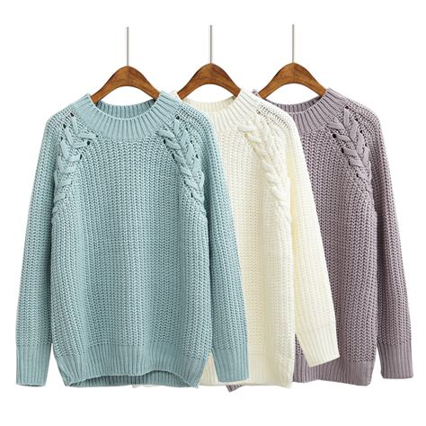 free knitting pattern raglan jumper women s kawaii solid color twisted raglan sweater korean