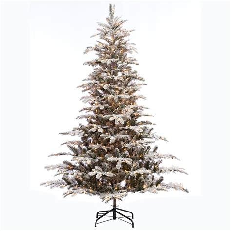 aspen pine flocked tree 7 5 ft pre lit led balsam fir artificial tree with warm white lights 4201101 ip51ho