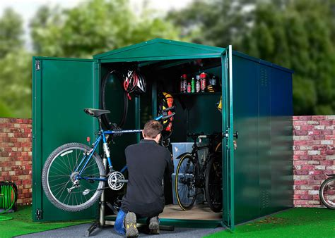 metal bike storage shed bike maintenance garage secured
