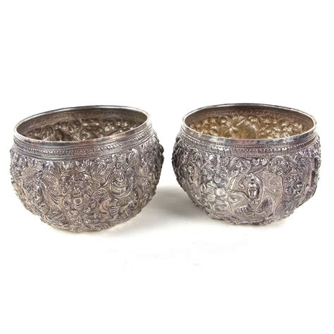 thai silver two similar burmese or thai silver bowls burma thailand