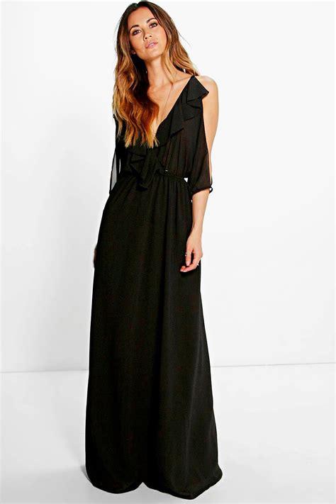 Cold Shoulder Maxi Dress boohoo womens raluk ruffle cold shoulder maxi dresses ebay