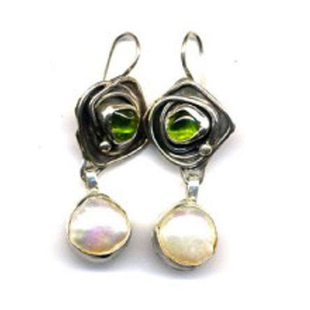 Handcrafted Jewellery Melbourne - earrings peridot pearl 187 handcrafted jewellery melbourne