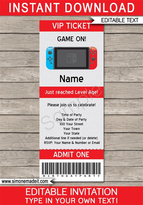 printable nes labels nintendo switch party printables invitations