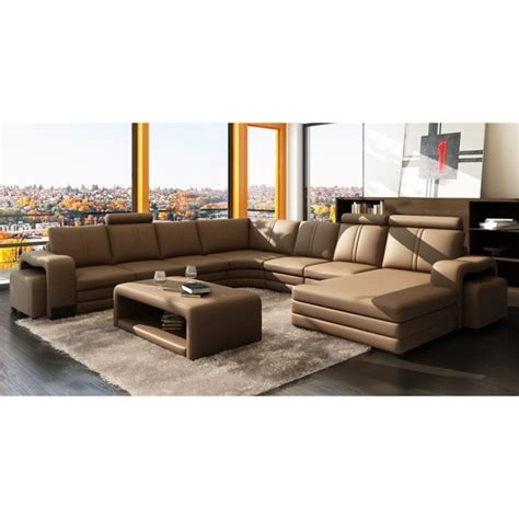 canape marron canap 201 d angle panoramique cuir marron 10 places h achat