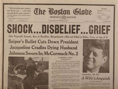 F Kennedy Assassination Essay by Boston Globe Edition Jfk Assassination Newspaper From November 23 1963 Headline News Of My