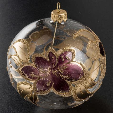 fiore a palla viola palla albero natale vetro trasparente fiore viola 10 cm