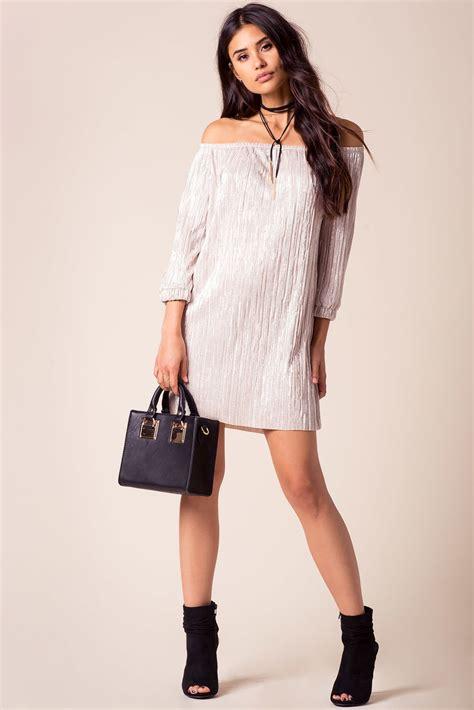 Sweet Pleats Dress s casual dresses sweet pleat shoulder dress