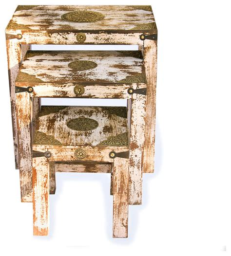 Distressed Coffee And End Tables Set Of Three Distressed Ivory Nesting Tables Modern Side Tables End Tables By Shop Chimney