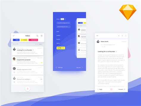 mobile email client mail client app ui kit concept for sketch freebiesui