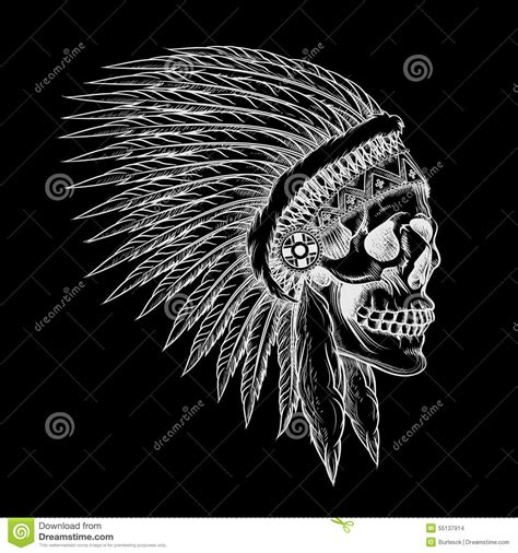 vector skull of indian chief in hand drawing style stock