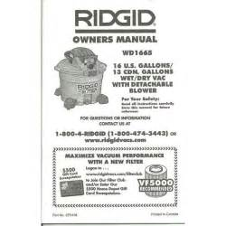 owner s manual for a ridgid wd1665 wet dry vac vacuum pn