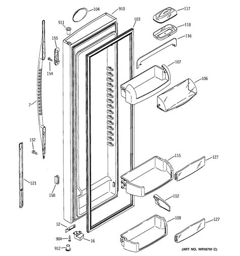 ge profile refrigerator diagram assembly view for fresh food door pss25mgmacc