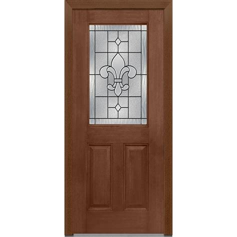 Glass Front Doors Home Depot Milliken Millwork 37 5 In X 81 75 In Carrollton Decorative Glass 1 2 Lite Mahogany Finished