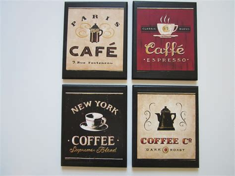 Coffee Themed Kitchen Canisters by Coffee Shop Plaques 4pc Country Red Black Beige Kitchen Wall
