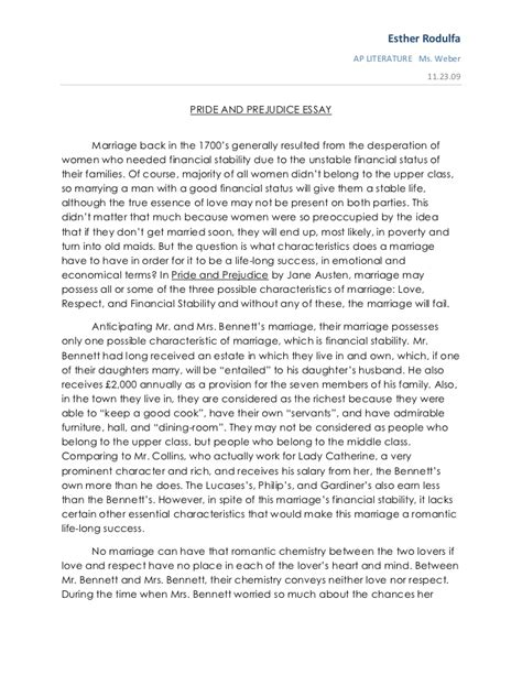 Pride And Prejudice Essay Topics by Pride And Prejudice Essay
