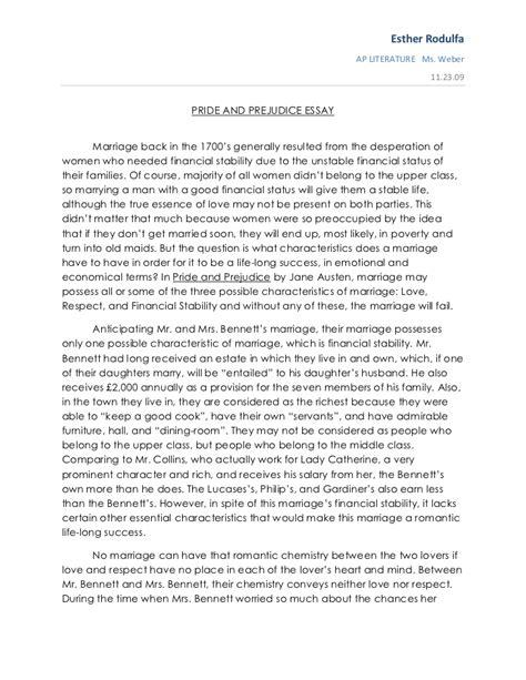 Pride and prejudice essay
