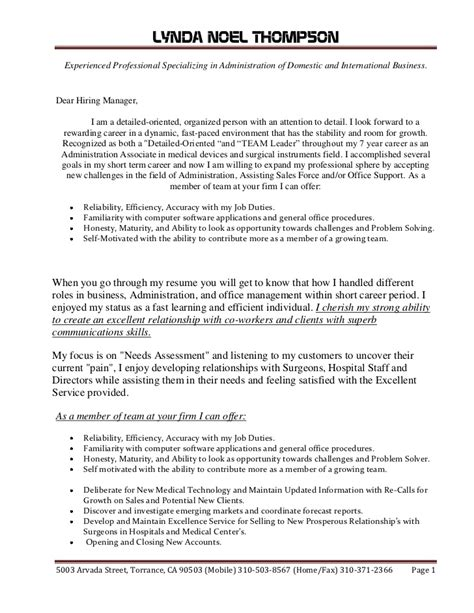 Master Cover Letter Master Copy Lynda Noel Thompson Cover Letter