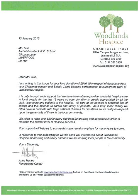 Donation Letter To Hospice Archbishop Beck Catholic Sports College