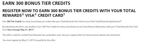 Total Credit Purchases Formula Total Rewards Credit Card Earn 300 Tier Credits Every Two Purchases Cap Of 9 900 Credits