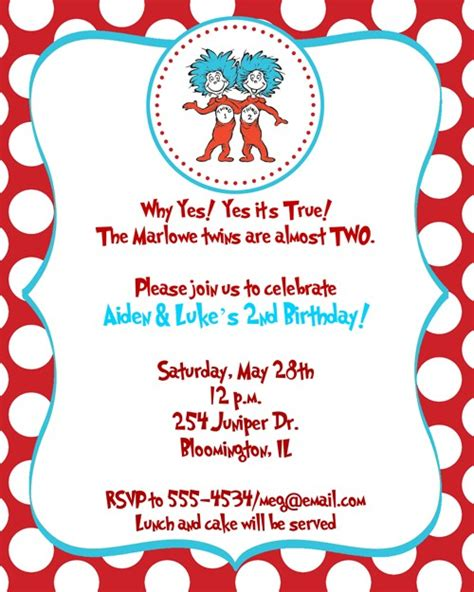 thing 1 and thing 2 card templates thing 1 and thing 2 birthday invitations