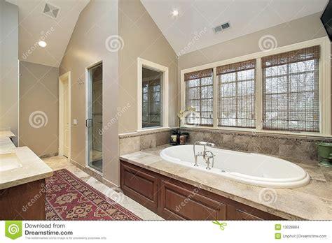 Clawfoot Tub Bathroom Design Master Bath With Wood Paneled Tub Stock Photo Image