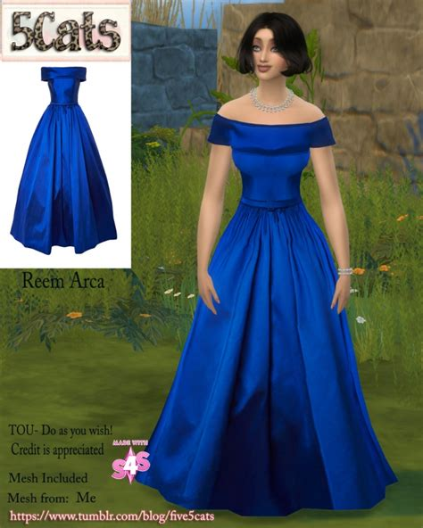 ball gown sims 4 arca offshoulder ball gown at 5cats 187 sims 4 updates