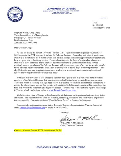 Philadelphia Acceptance Letter Troops To Teachers Expands To The National Guard Financial Assistance Available