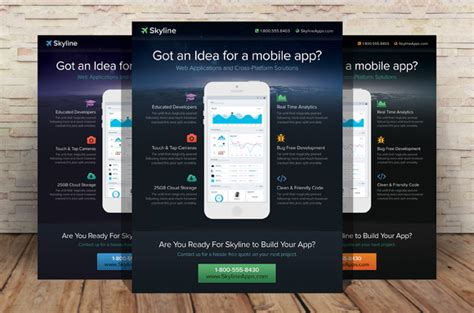 mobile app flyer template flyer templates on creative market