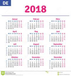 Calendar 2018 Germany German Calendar 2018 Stock Vector Image 89215081