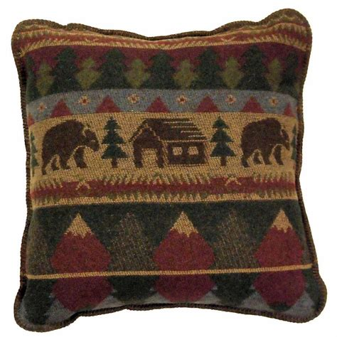Lodge Throw Pillows by Cabin Throw Pillow By Wooded River