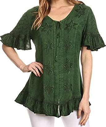 Embroider Blouse Ml 00131 sakkas sayle embroidered blouse shirt top with button front and ruffles co uk