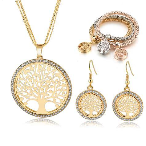 aliexpress jewellery szelam gold tree of life jewelry set for women necklace