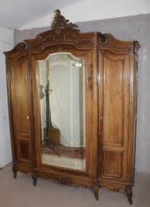 antique mirrored armoire large carved louis xv walnut mirrored armoire antiques atlas