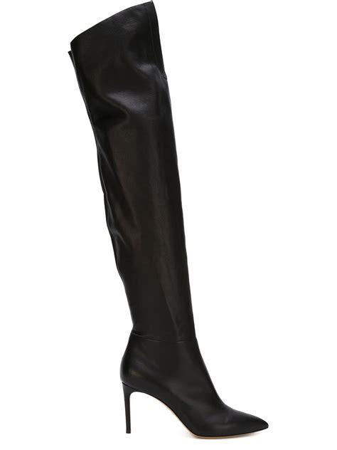 casadei boots casadei black thigh length boots lyst