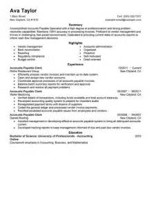 Accounts Payable Supervisor Sle Resume by Best Accounts Payable Specialist Resume Exle Livecareer