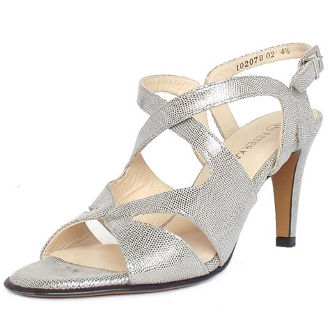 silver strappy evening sandals kaiser uk padora silver paiette strappy evening