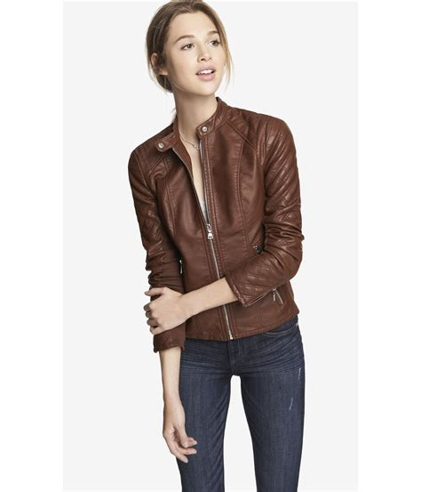 Expres Jacket Brown lyst express minus the leather quilted sleeve jacket
