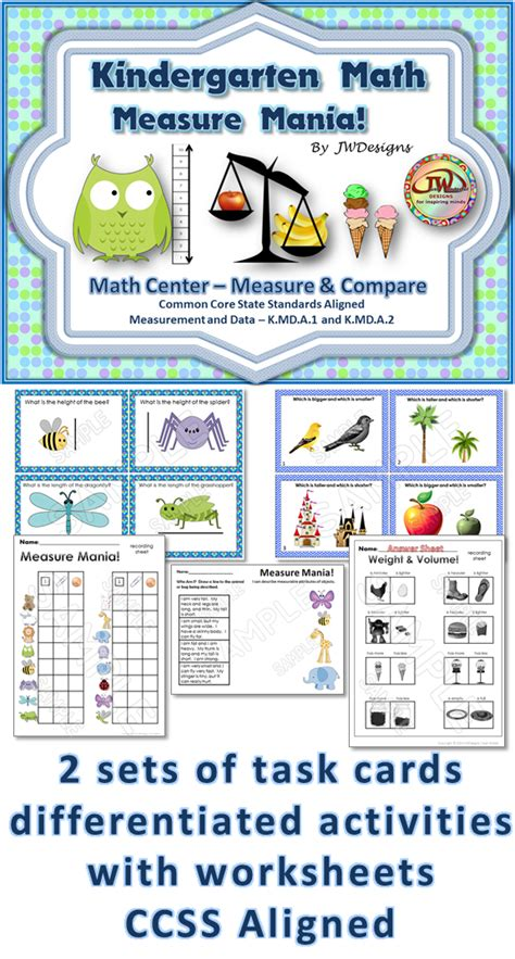 Math Center Worksheets by Measurement Task Cards Non Standard Measurement Math