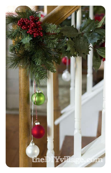 best banister garlands for christmas banister garland the diy