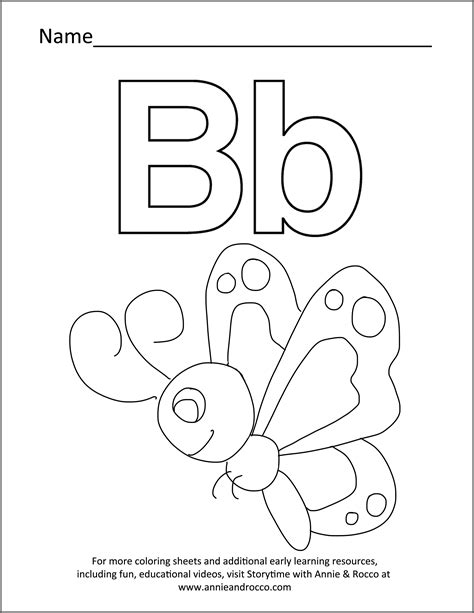 butterfly coloring page education com letter quot b quot storytime