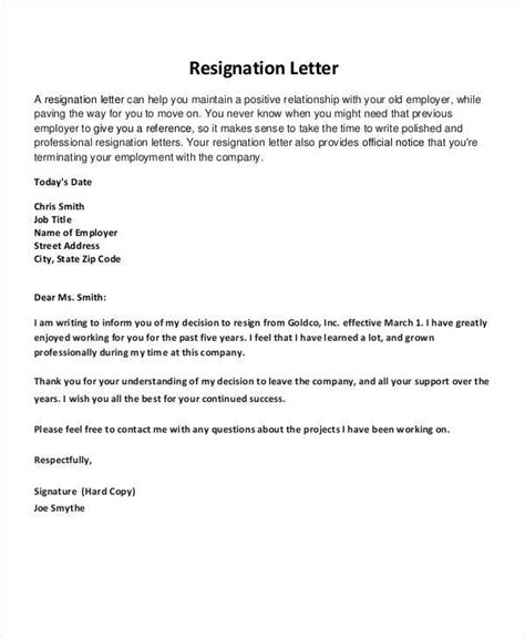 resignation letters pointers